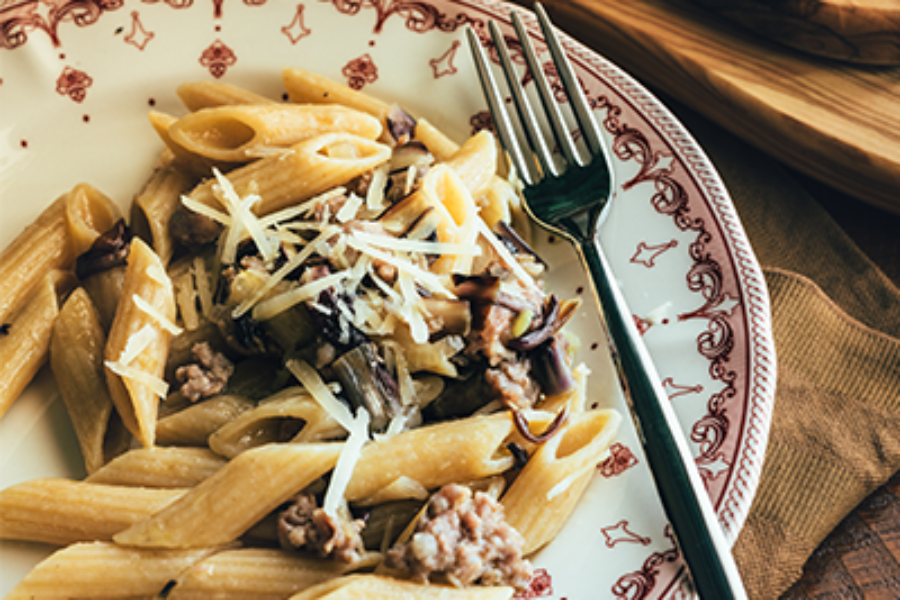 Pasta with Radicchio Tondo, Sausage and Red Wine